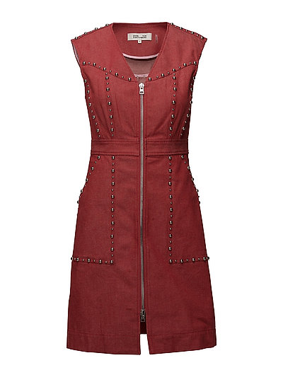 ZIP FRONT SHEATH DRESS - CHERRY