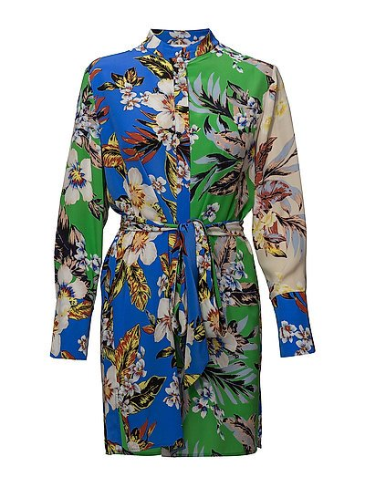 L/S SHIRT DRESS - BOLAN COBALT MULTI