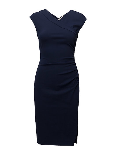 CAP SLV RUCHED JERSEY DRESS - NEW NAVY