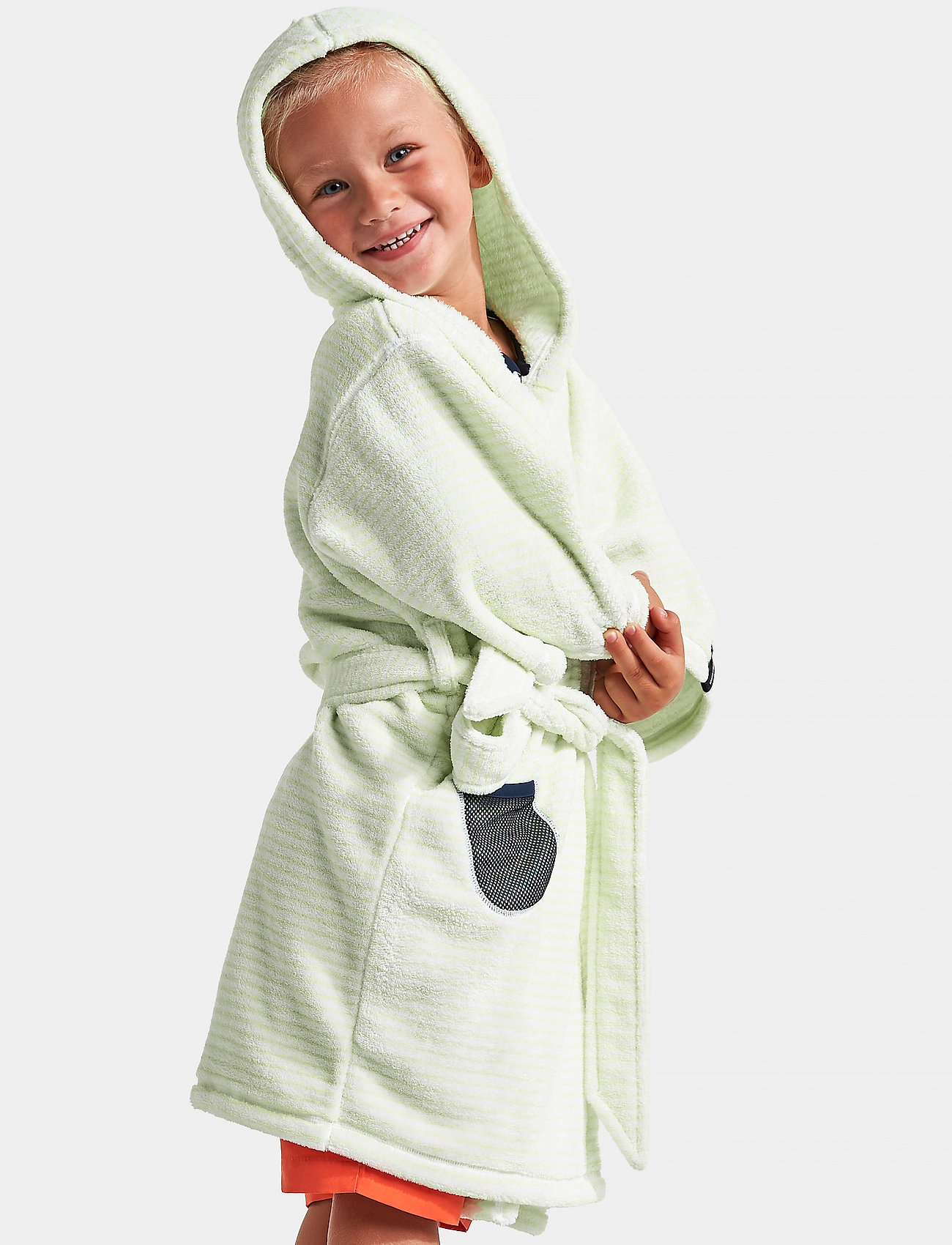 Didriksons - PIER KIDS BEACH ROBE - bathrobes - split green simple stripe - 0
