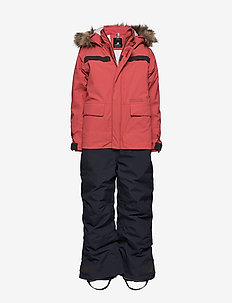 MANETEN KIDS COVERAL - snowsuit - raspberry red