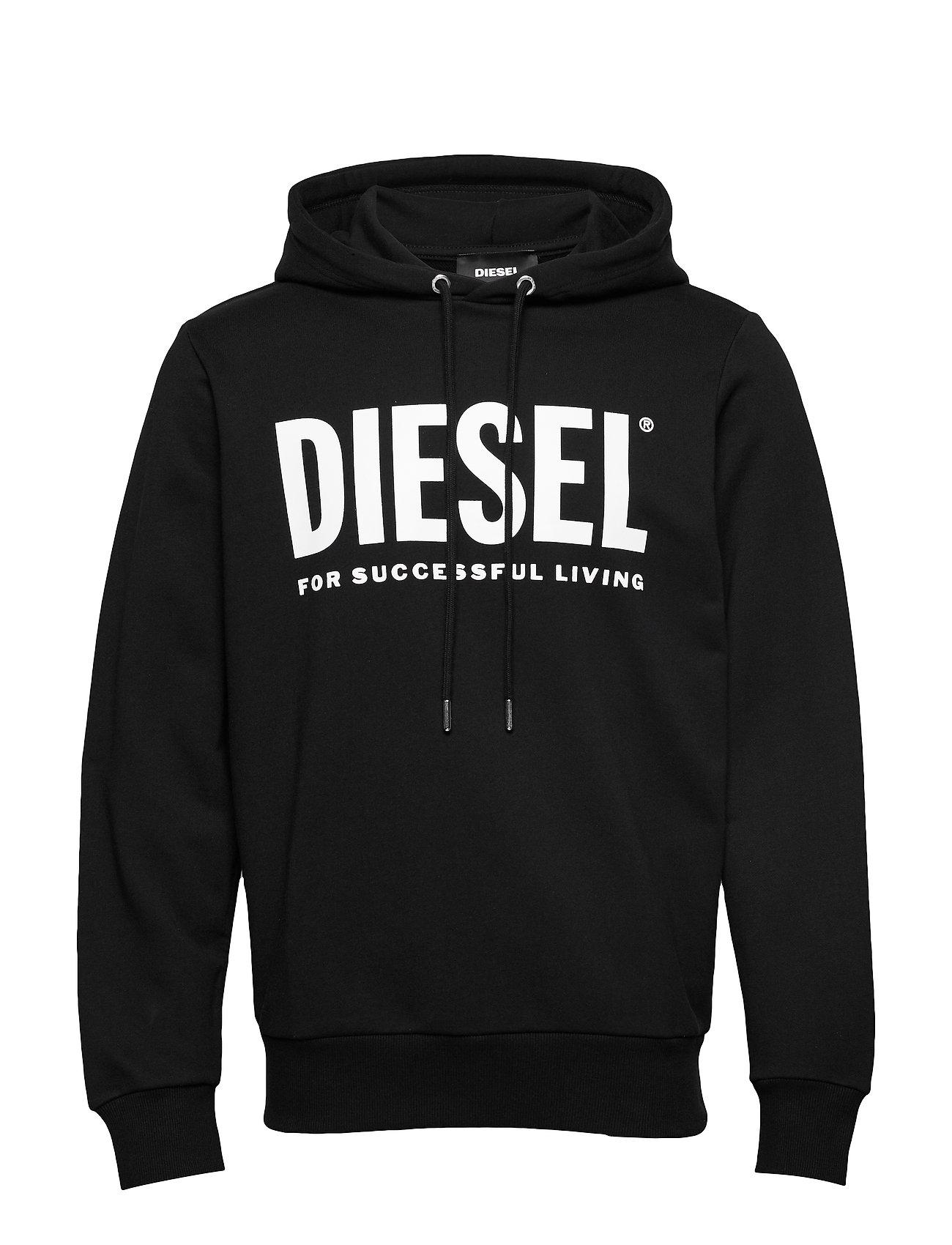 Diesel Men S-GIR-HOOD-DIVISION-LOGO SWEAT-SHIR - BLACK