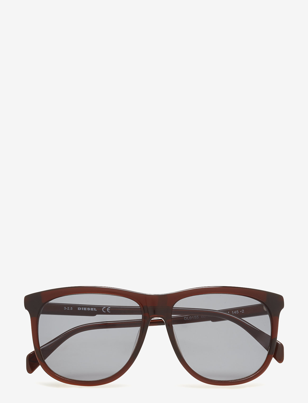 Diesel - DL0155 - okulary przeciwsłoneczne w kształcie litery d - 48n - shiny dark brown / green - 0