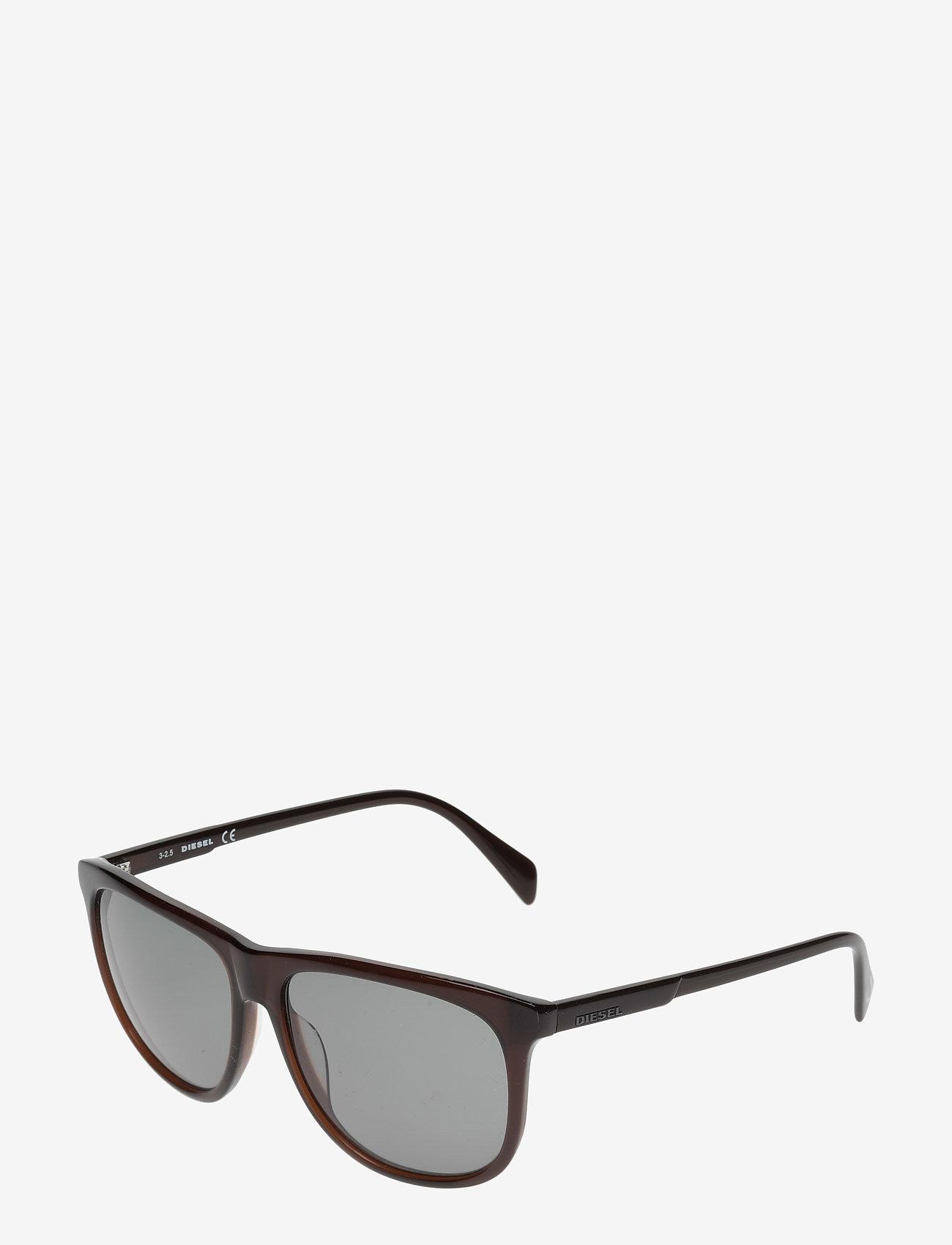 Diesel - DL0155 - okulary przeciwsłoneczne w kształcie litery d - 48n - shiny dark brown / green - 1
