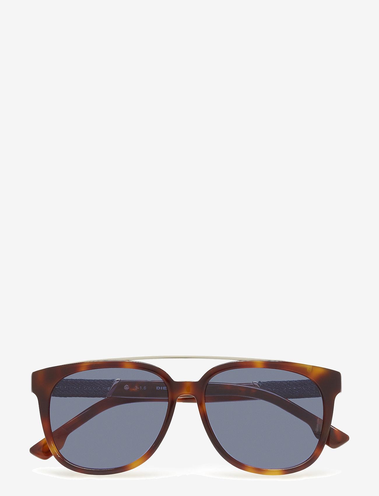 Diesel - DL0166 - okulary przeciwsłoneczne w kształcie litery d - 53v - blonde havana / blue - 0