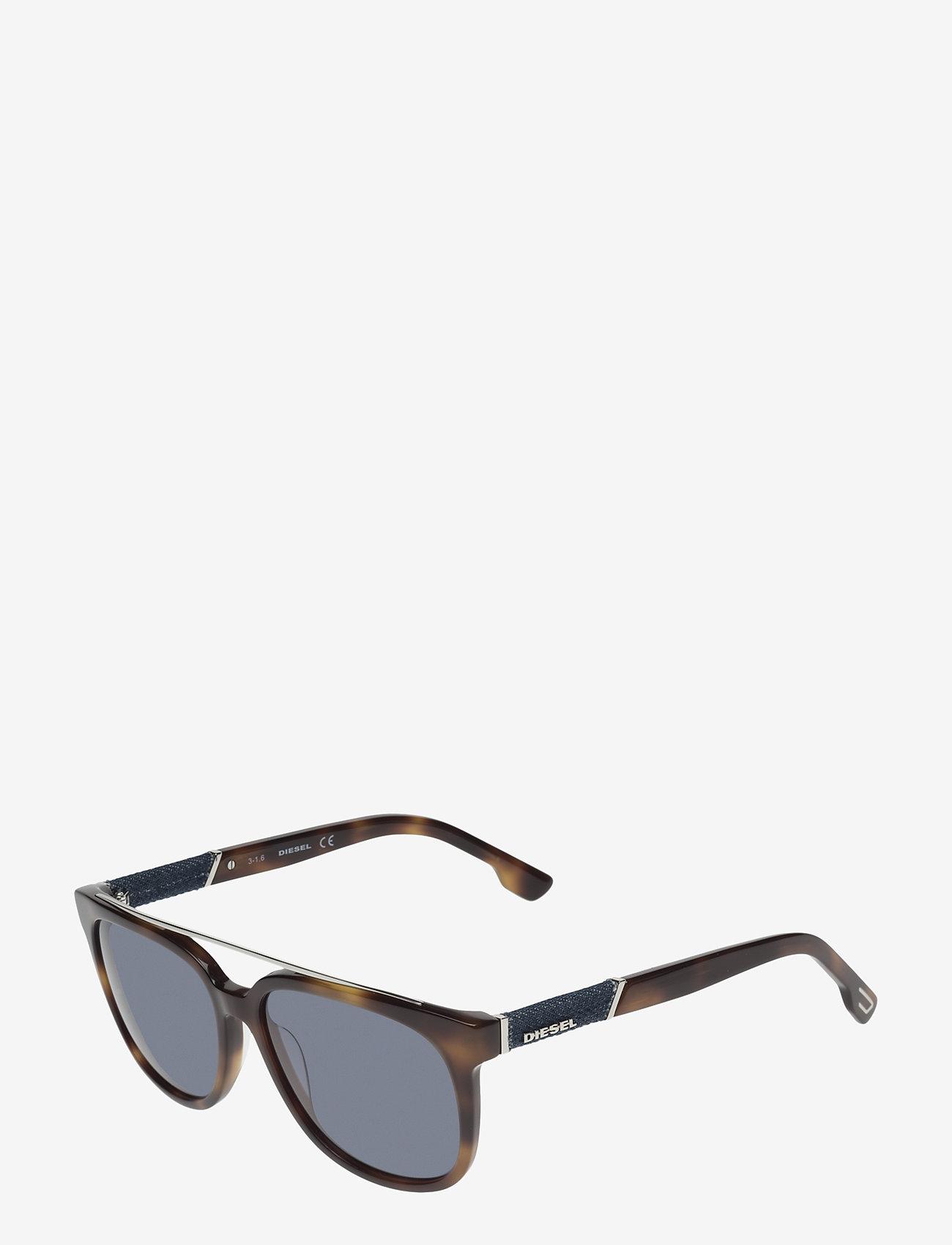 Diesel - DL0166 - okulary przeciwsłoneczne w kształcie litery d - 53v - blonde havana / blue - 1