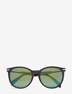 DL0157 - okulary przeciwsłoneczne w kształcie litery d - 05q - black/other / green mirror