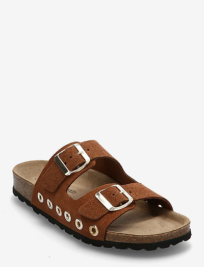 Duffy - platta sandaler - cognac