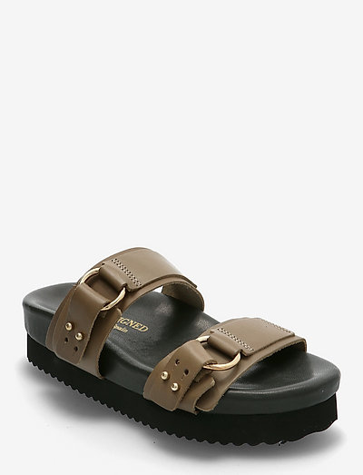 Calinas - platta sandaler - khaki