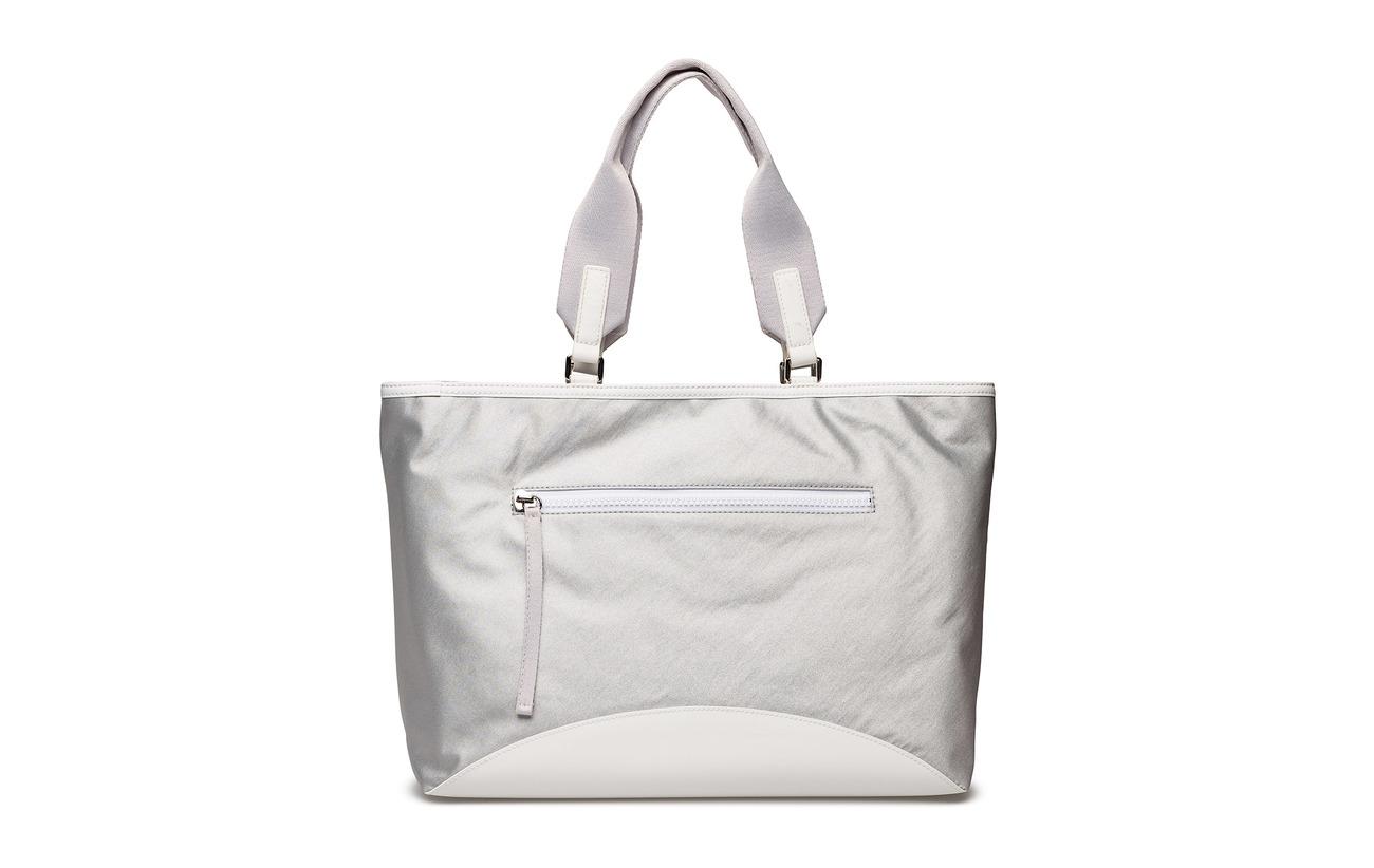 Polyurethane Jadyn Intérieure Polyvinyl 100 Dk Bags Nylon Tote Doublure Silver Détails Bordure Dkny Large Équipement Rw8AxC55q