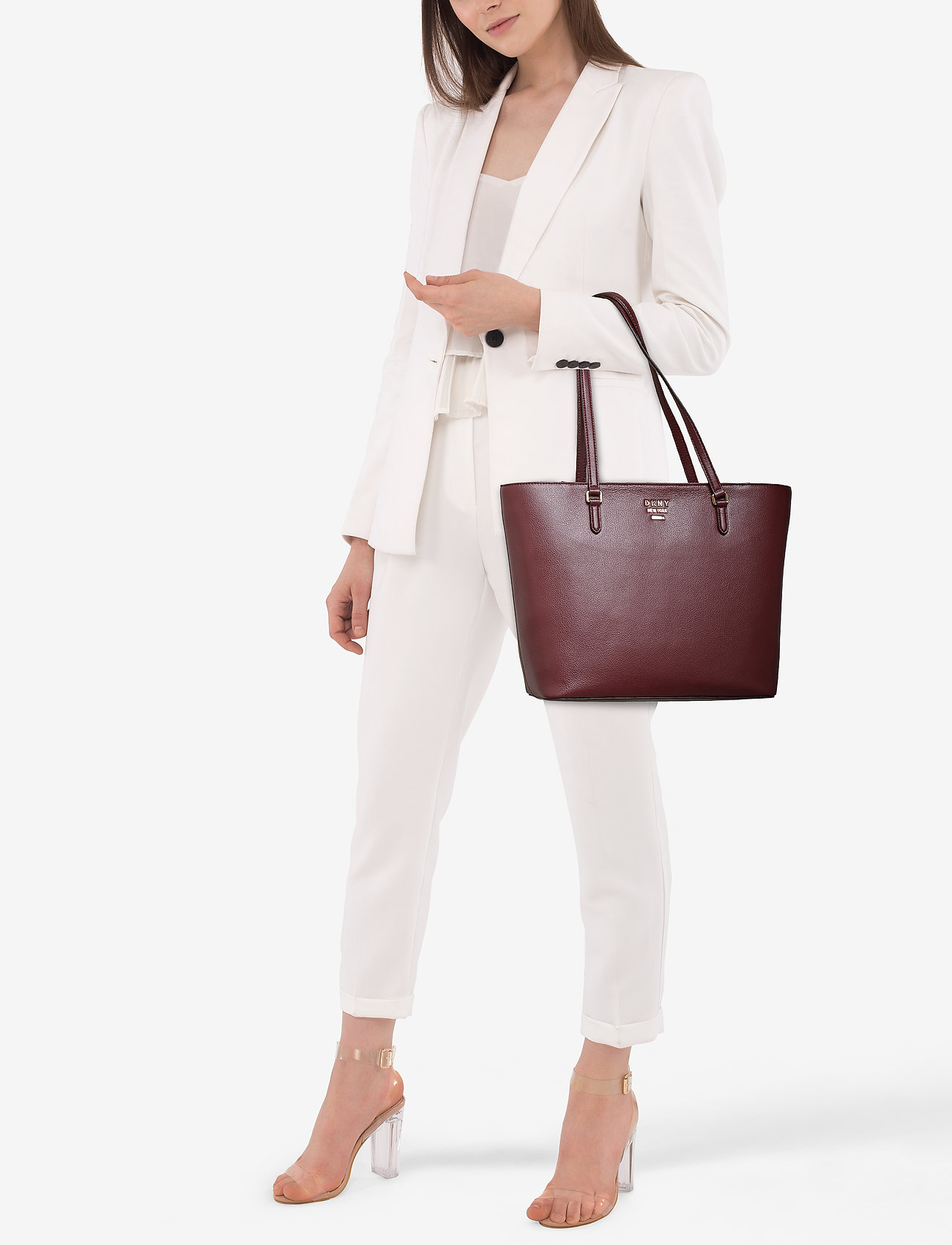 DKNY Bags WHITNEY-LG TOTE-PEBB - BLOOD RED