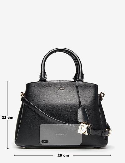 PAIGE- MD SATCHEL - handväskor - blk/gold