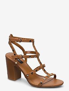 HANZ - højhælede sandaler - cognac
