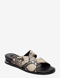 DELLA - flat sandals - blk/wht