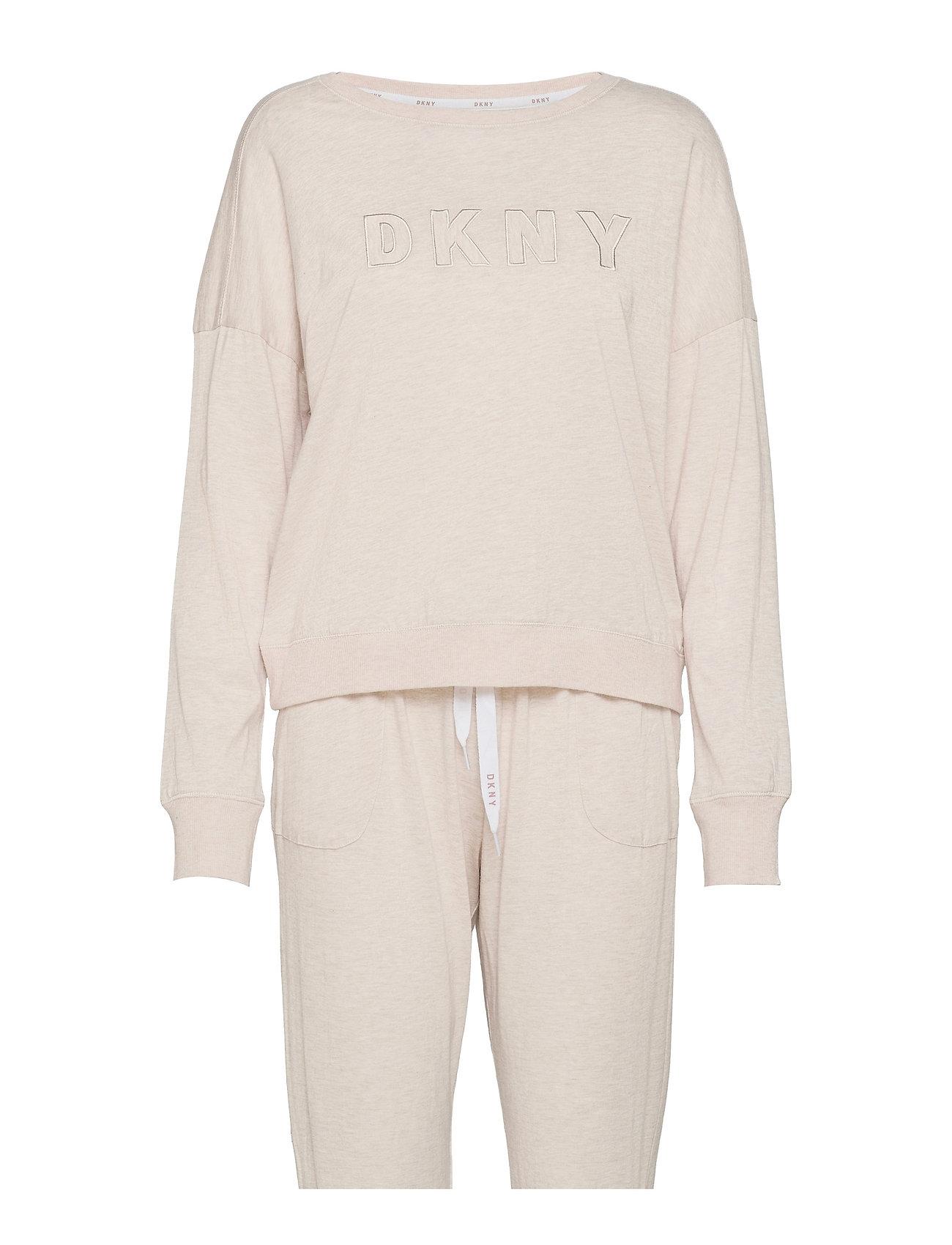 Dkny New Signature L/S Top & Jogger Pj Pyjamas Nattøj Beige DKNY Homewear