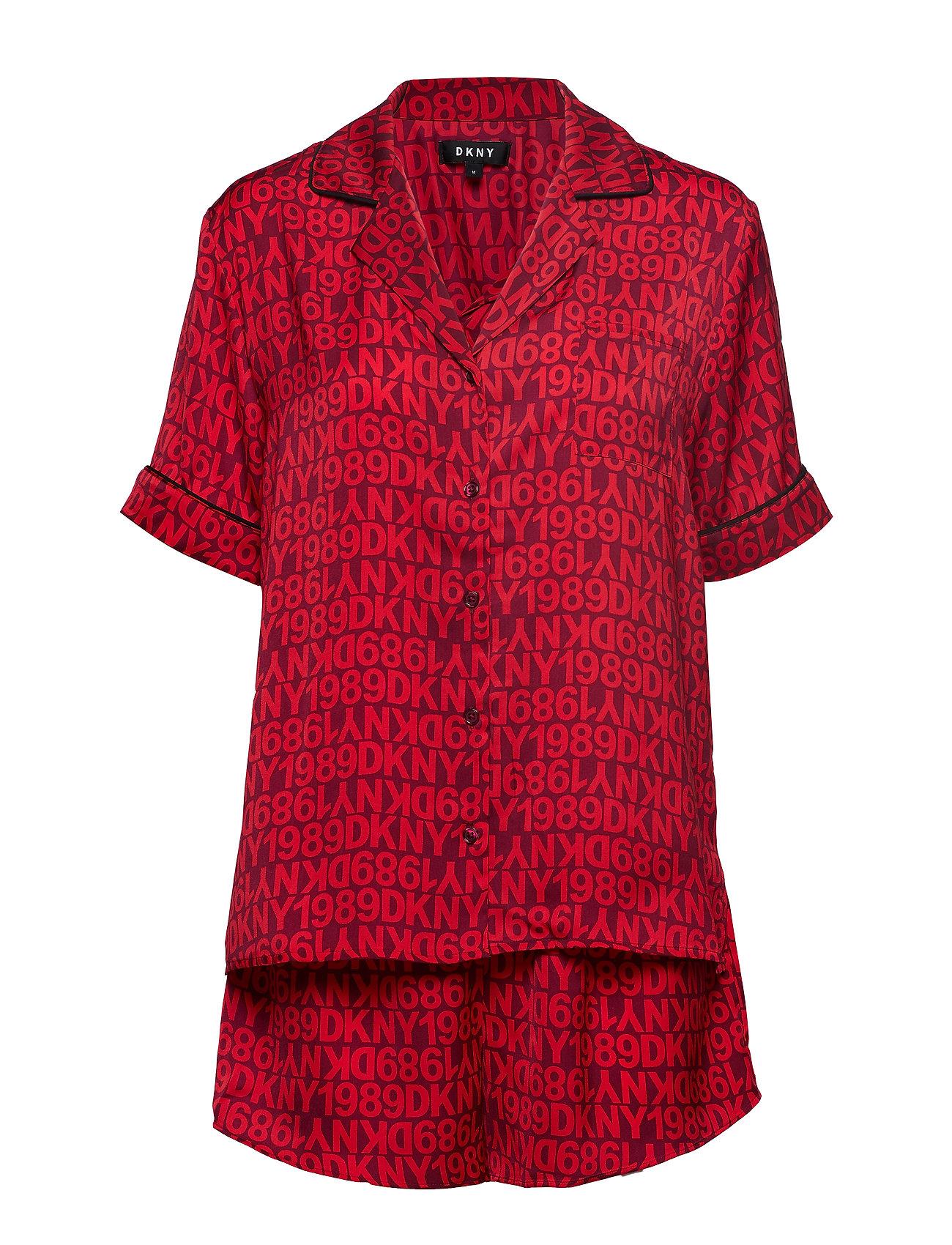 DKNY Dkny Only In Dkny Top & Boxer Pj Set Pyjama Rot DKNY HOMEWEAR