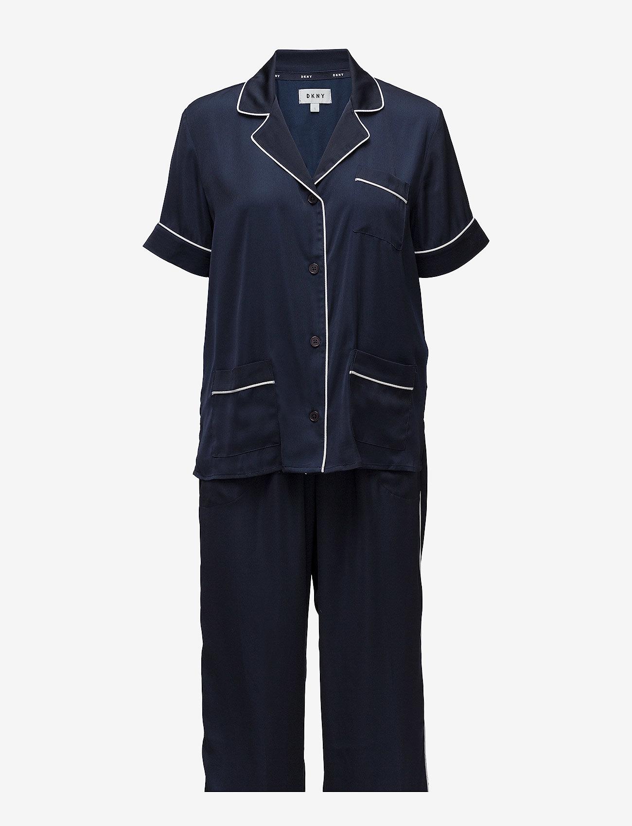 DKNY Homewear - DKNY WALK THE LINE TOP & CROP PANT - pyjamas - navy