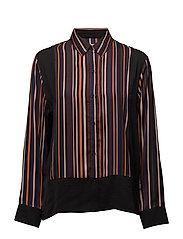 DKNY LOOK OF LUXE LONG SL. TOP - MULTISTRIPE