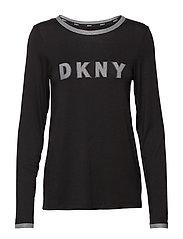 DKNY MIXED THREADS TOP L/S - BLACK