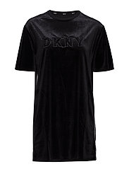 DKNY MIXED THREADS SLEEPSHIRT 1/2 SL. - BLACK