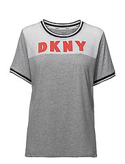 DKNY SPELL IT OUT TEE SH/SLEEVE - GREY HEATHER