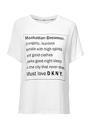 DKNY SPELL IT OUT TEE SH/SLEEVE - WHITE