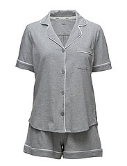 DKNY NEW SIGNATURE S/S TOP & BOXER PJ - GREY HEATHER