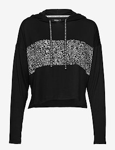 DKNY SHADOW PLAY HOODIE LONG SL. - góry - black