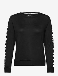 DKNY 100% DKNY TOP LONG SL. - langærmede toppe - black