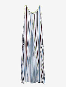 DKNY EASY DOES IT MAXI CHEMISE - WHITE STRIPE