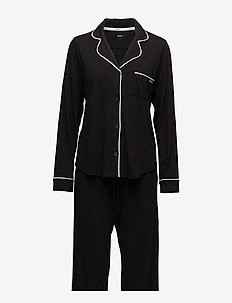 DKNY NEW SIGNATURE L/S TOP & PANT PJ SET - pyjamas - black