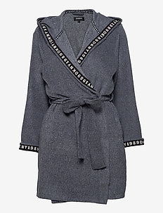 DKNY ALL ABOUT LAYERS ROBE L/S - bathrobes - charcoal heather