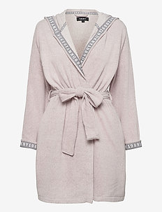 DKNY ALL ABOUT LAYERS ROBE L/S - badjassen - shell heather