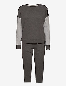 DKNY REINVEN.CLASSIC L/S TOP & JOGGER PJ - piżamy - charcoal heather