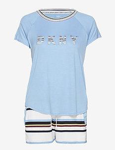 DKNY EARN YOUR STRIPE TOP & BOXER PJ SET - WHITE STRIPE