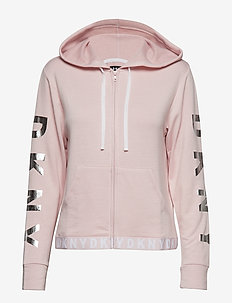 DKNY LOGO LOCK UP HOODIE LONG SLEEVE - SECRET