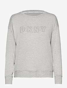 DKNY CORE ESSENTIALS TOP LONG SLEEVE - tops - grey heather