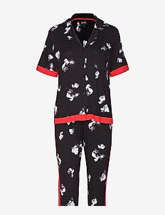 DKNY MODERN REFL. TOP & CAPRI PJ SET - BLACK FLORAL