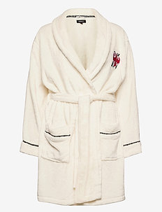 DKNY SIGNATURE ROBE SHORT FOLDED - bedrok - winter white