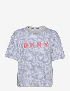 DKNY CASUAL FRIDAYS SLEEP TOP SHORT SL - tops - breeze zebra