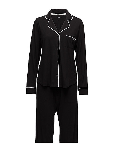 Dkny New Signature L/S Top & Pant Pj Set Pyjama Schwarz DKNY HOMEWEAR