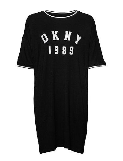 Dkny Color Theory Sleepshirt Sh. Sl Nachthemd Schwarz DKNY HOMEWEAR