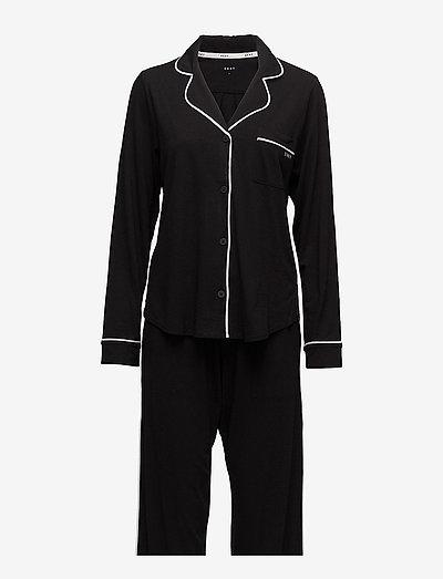 DKNY NEW SIGNATURE L/S TOP & PANT PJ SET - pyjamas - black