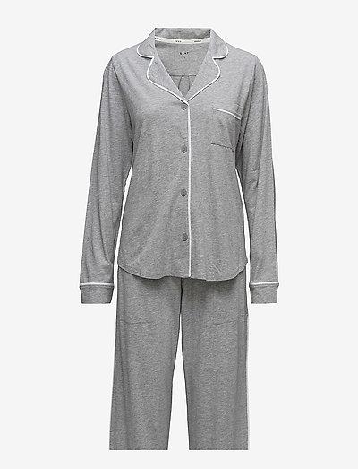DKNY NEW SIGNATURE L/S TOP & PANT PJ SET - pyjamas - grey heather