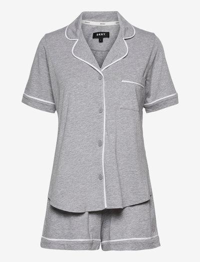 DKNY NEW SIGNATURE S/S TOP & BOXER PJ - pyjamas - grey heather
