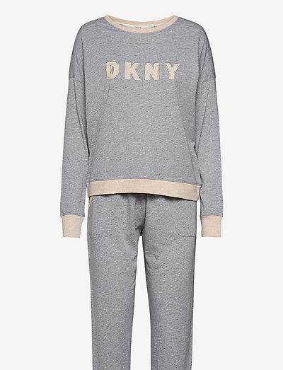DKNY NEW SIGNATURE L/S TOP & JOGGER PJ - pyjamas - grey heather