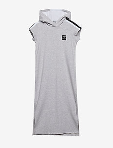HOODED DRESS - CHINE GREY