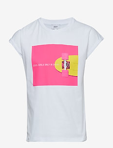 SHORT SLEEVES TEE-SHIRT - WHITE   PINK