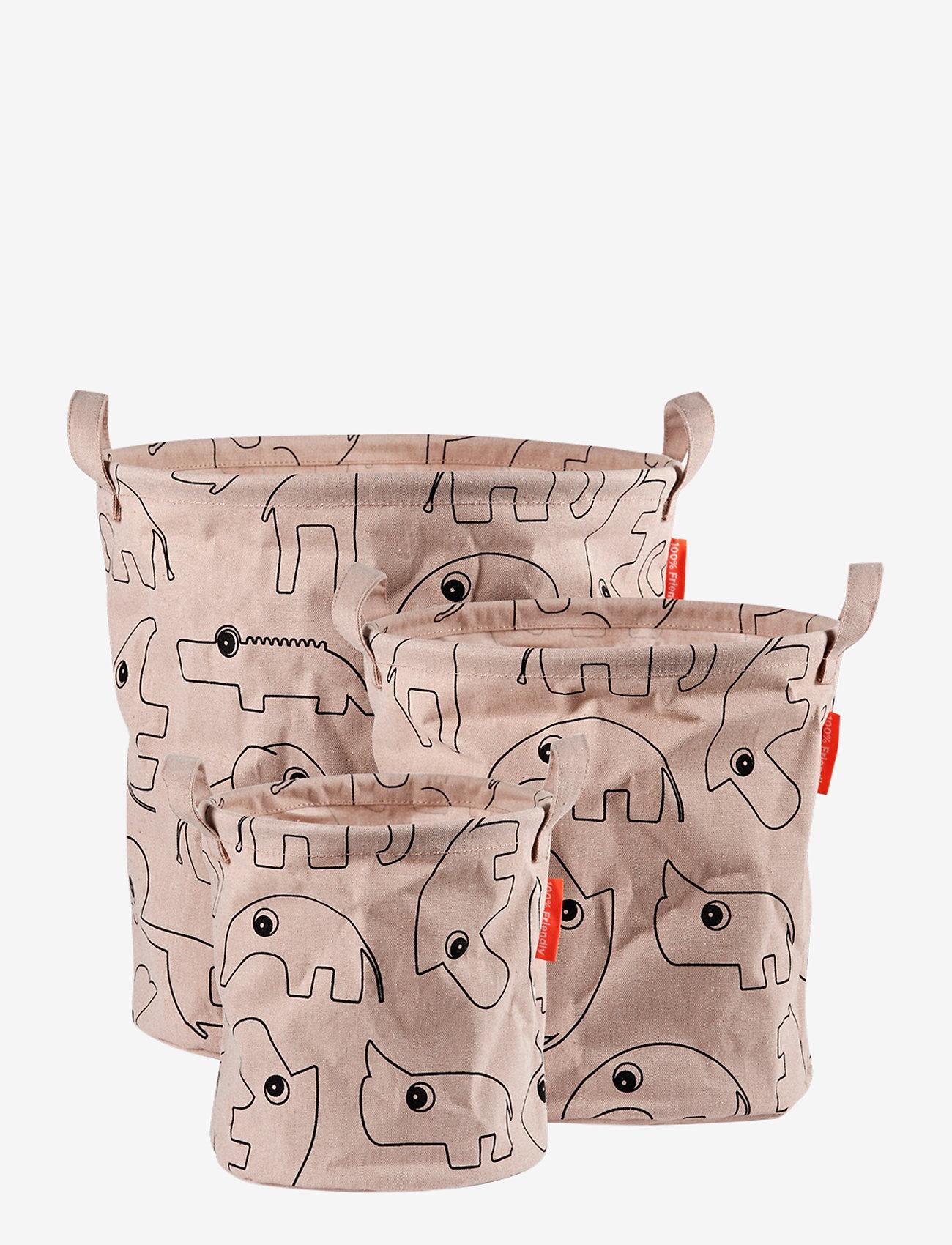 Done by Deer - Storage baskets 3 pcs Contour - przechowywanie - powder - 0