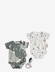 Done by Deer - Baby body set & rattle Tiny tropics - kurzärmelige - green - 1